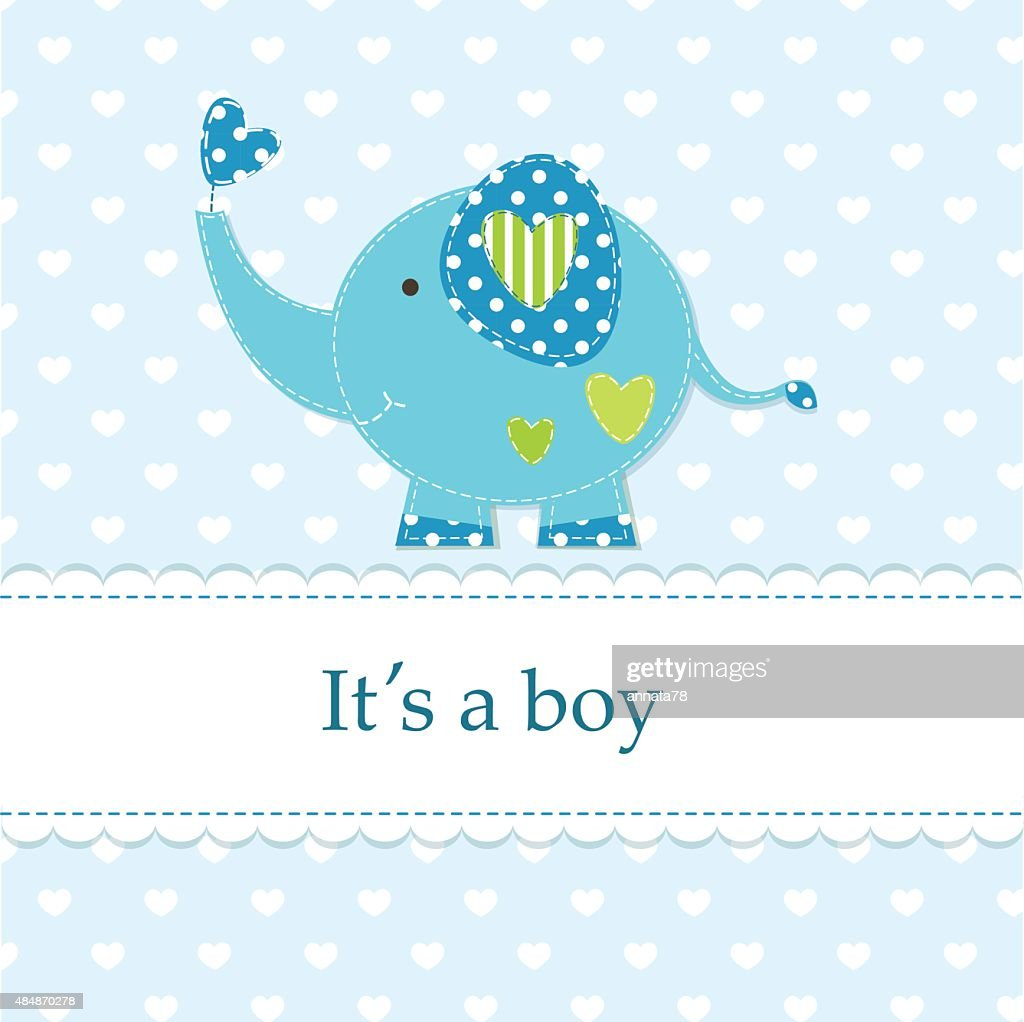 Cute blue baby shower with elephant