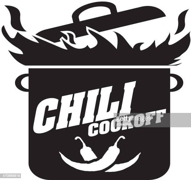 cute blue chili pot cookoff event   icon design - cauldron stock illustrations, clip art, cartoons, & icons
