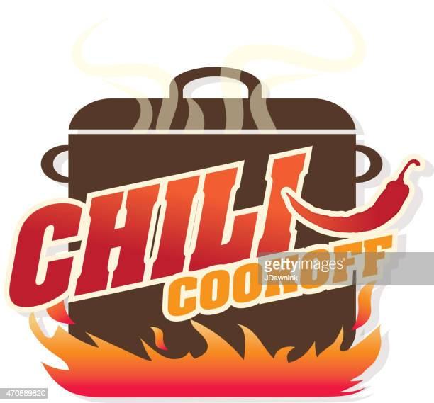 cute blue chili pot cookoff event   icon design - chili pepper stock illustrations