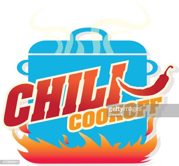 cute blue chili pot cookoff event   icon design - pepper seasoning stock illustrations