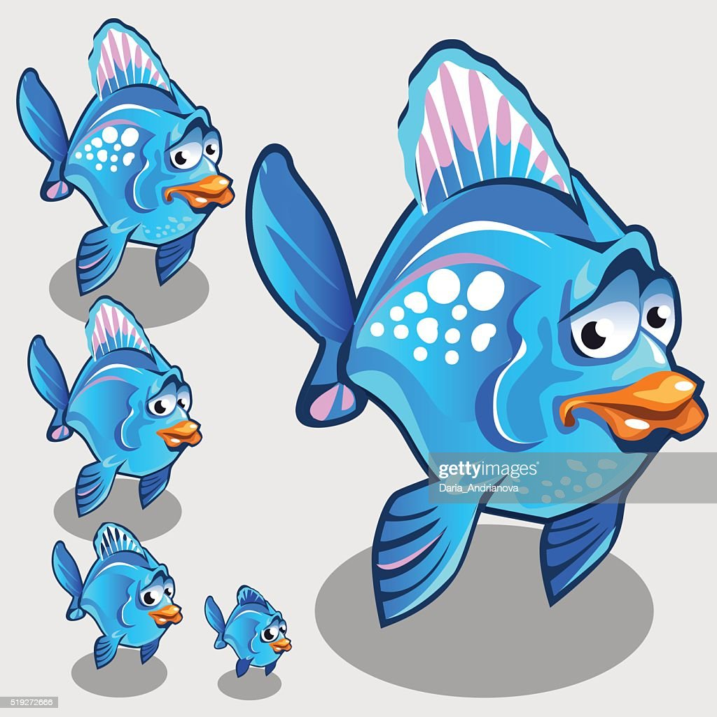 Cute blue fish with sad face, vector character