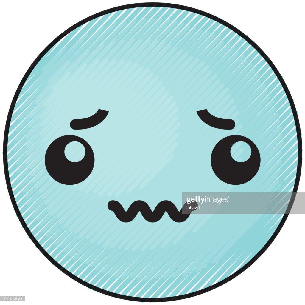 cute blue kawaii emoticon face