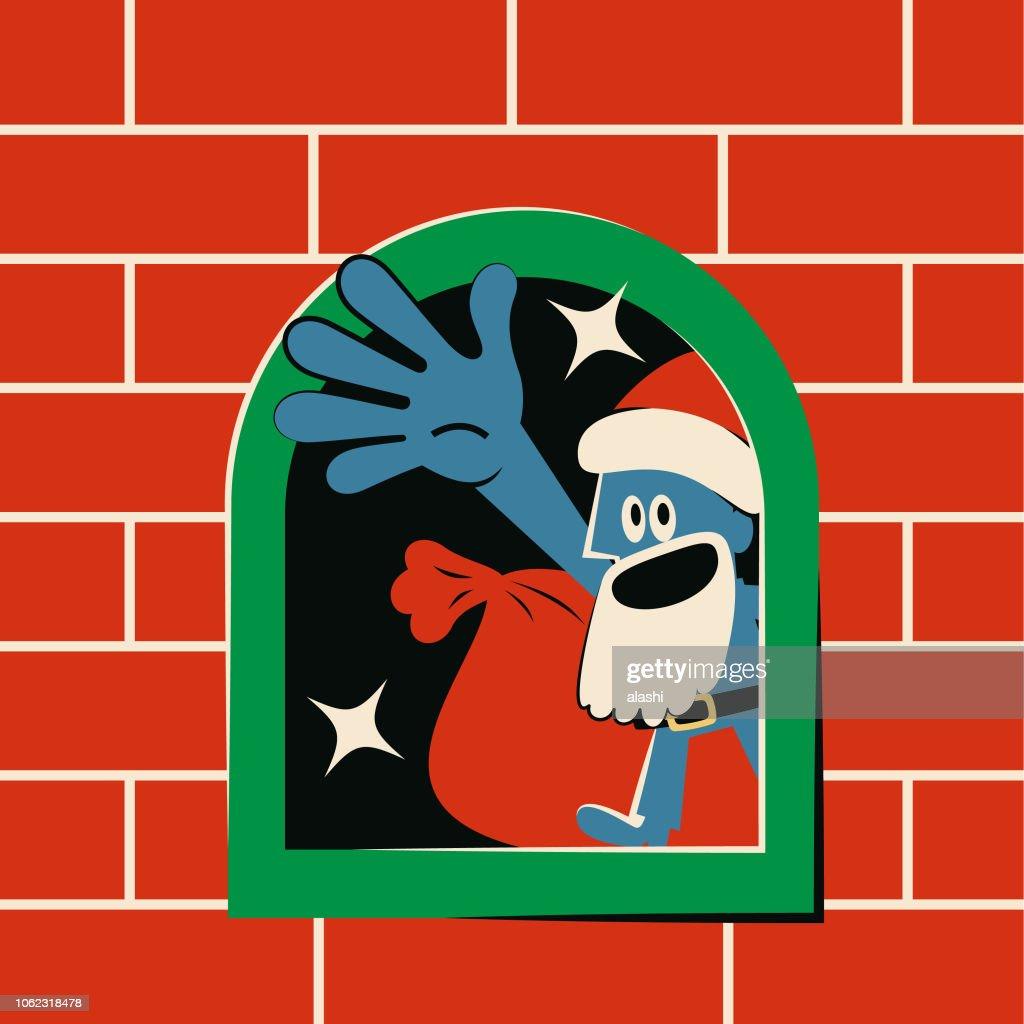 Conduit De Cheminee En Brique Rouge noël bleu mignon salutation À lintérieur de la cheminée en