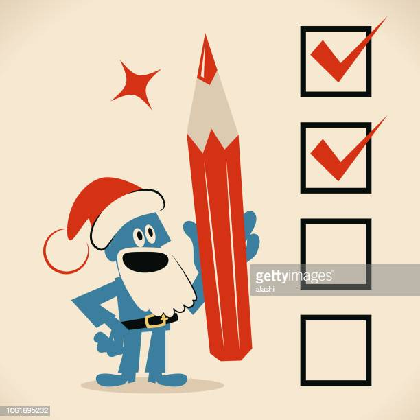 Cute blue Santa Claus holding big red pencil, putting check mark in checkbox