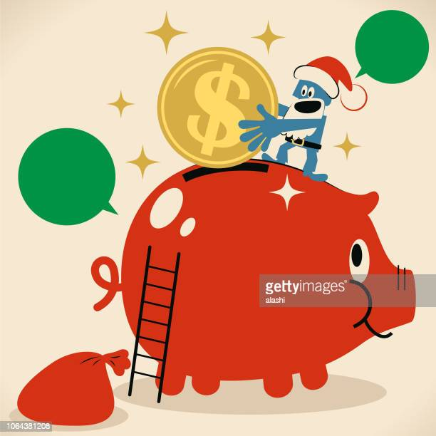 cute blue santa claus putting a large dollar sign coin (us currency) into a piggy bank - christmas cash stock illustrations