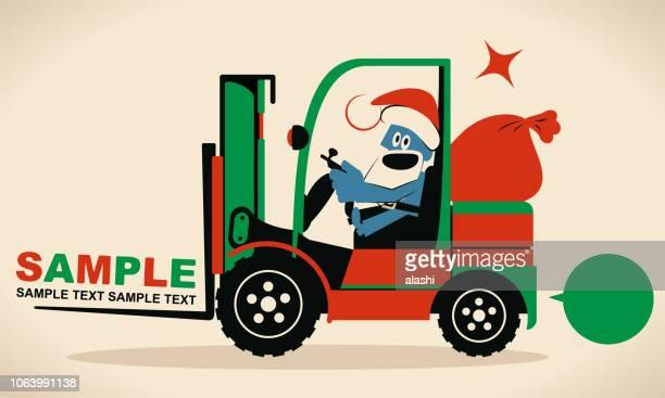 フォーク リフトを運転ギフト袋でかわいい青いサンタ クロース - クリスマスマーケット点のイラスト素材/クリップアート素材/マンガ素材/アイコン素材