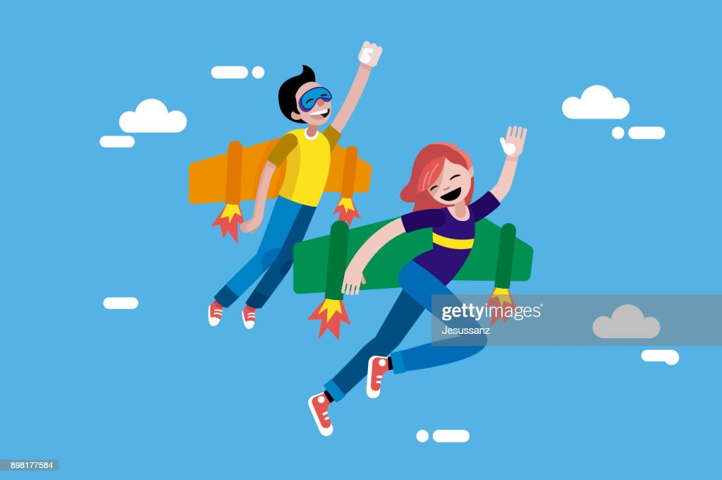 Cute Boy and Girl Flying with Wings