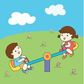 cute boy and girl playing seesaw board vector