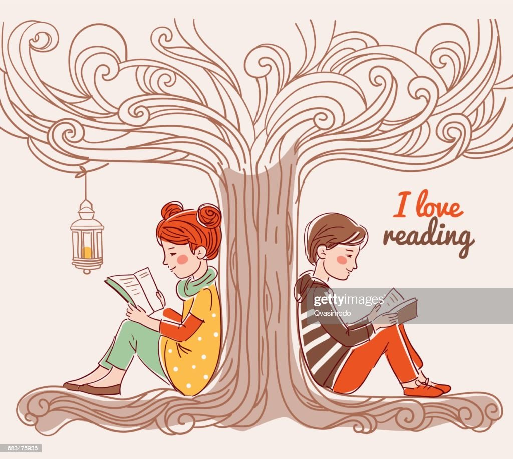 Cute boy and girl reading books under the tree