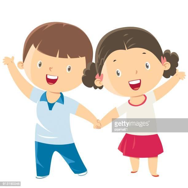 ilustraciones, imágenes clip art, dibujos animados e iconos de stock de niño y niña linda - agarrados de la mano