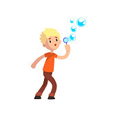 Cute boy blowing soap bubbles cartoon vector Illustration on a white background