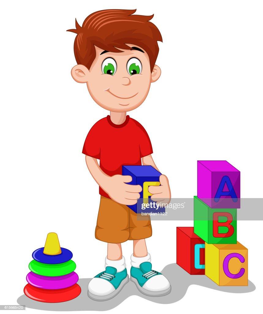 cute boy cartoon playing lego