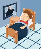 cute boy cartoon sleeping in the bedroom