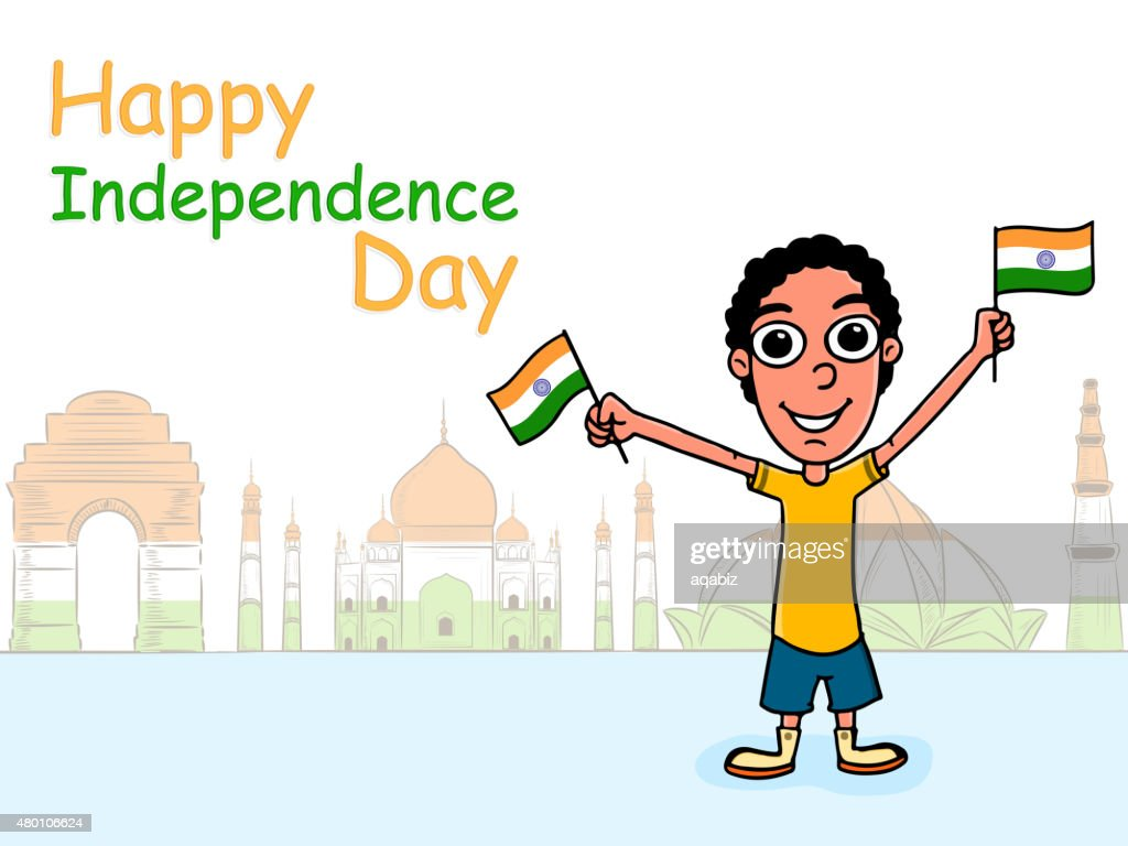 Cute boy celebrating Indian Independence Day.