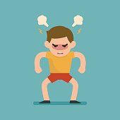 Cute boy gets mad angry fighting with blowing from ears expression, Vector illustration.