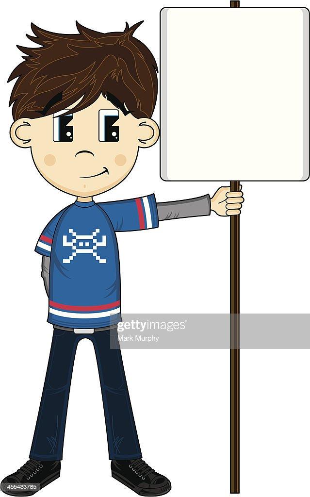 Cute Boy Holding a Sign