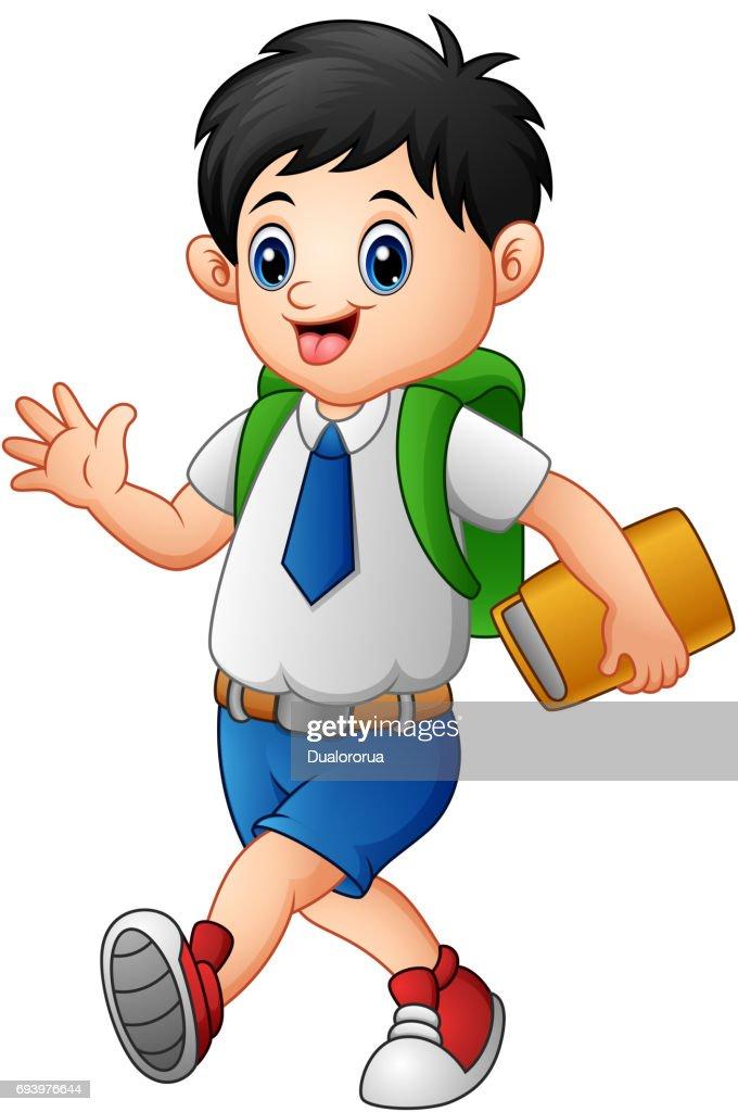Cute boy in a school uniform go to school