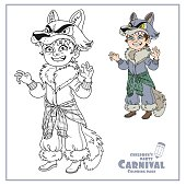 Cute boy in werewolf costume color and outlined for coloring page