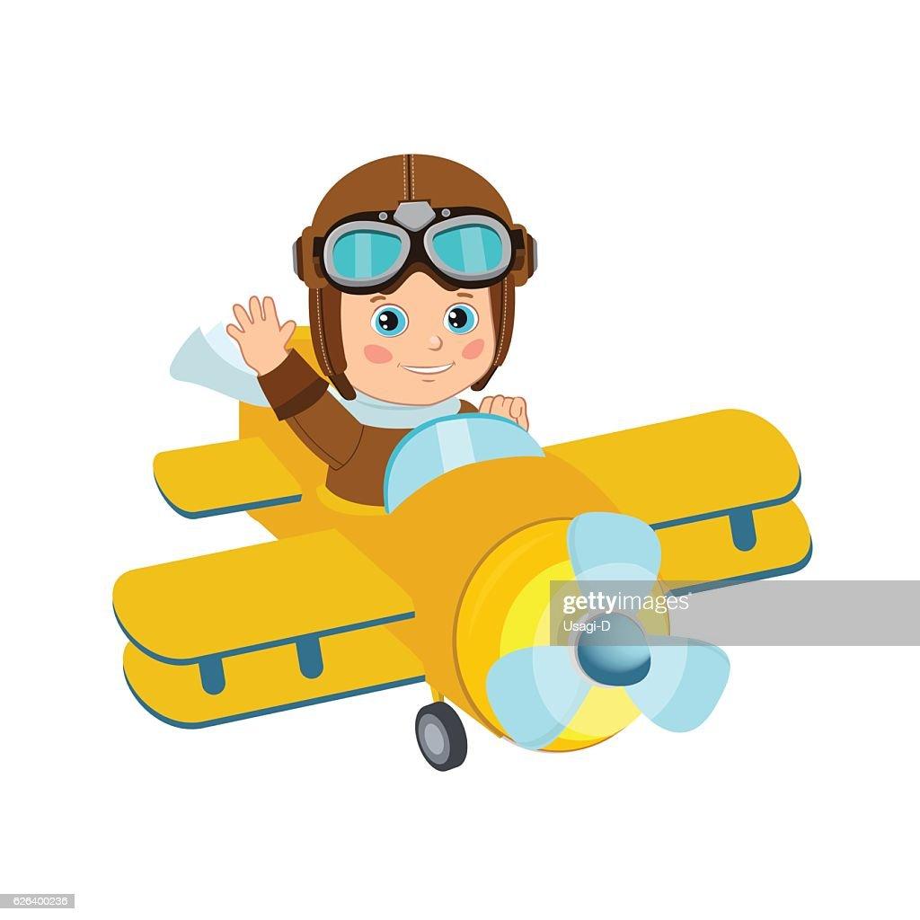 Cute Boy Pilot Flies On A Airplane. Boy Pilot Hat.