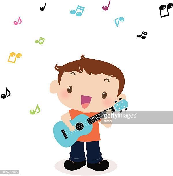 illustrations, cliparts, dessins animés et icônes de mignon petit garçon jouant de la guitare et chanter (ukulélé - musicien pop