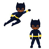 Cute Boy superhero in flight and in standing position