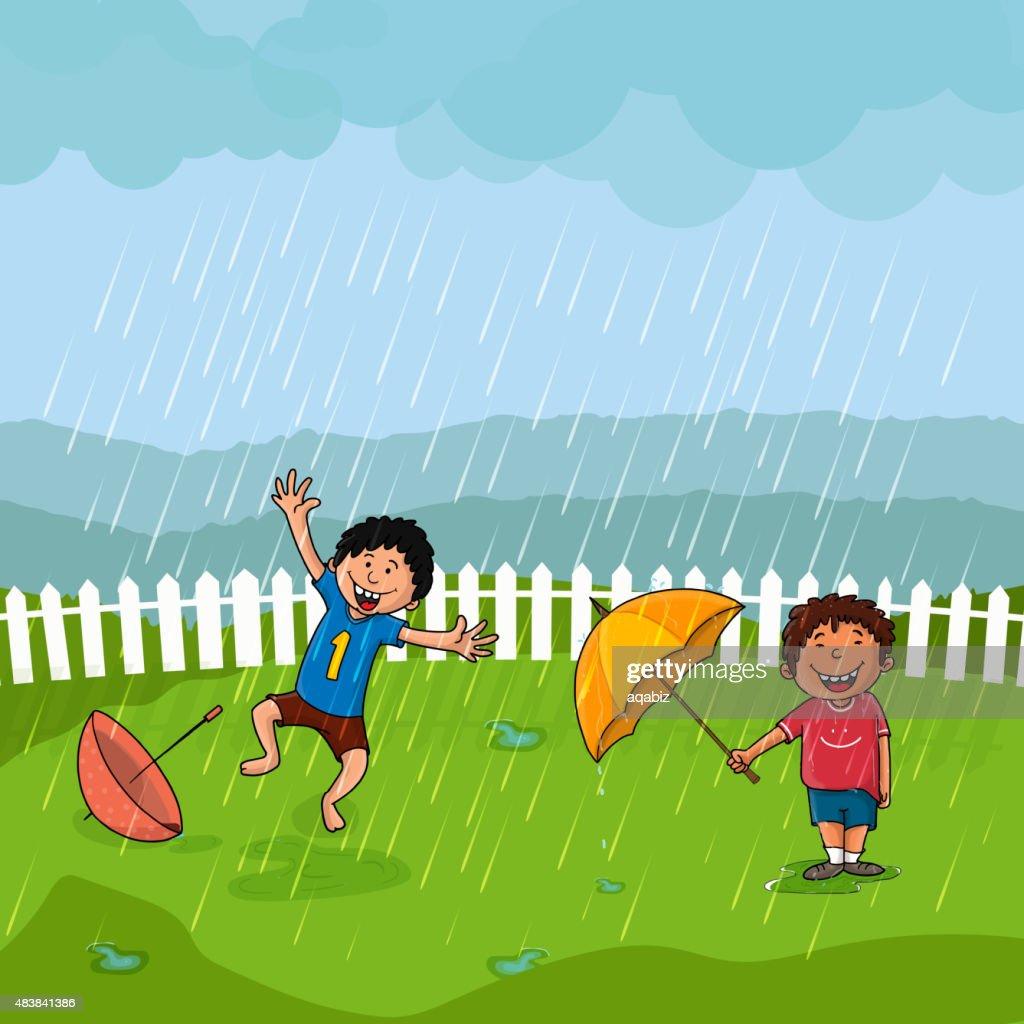 Cute boys in rain for Monsoon Season concept.