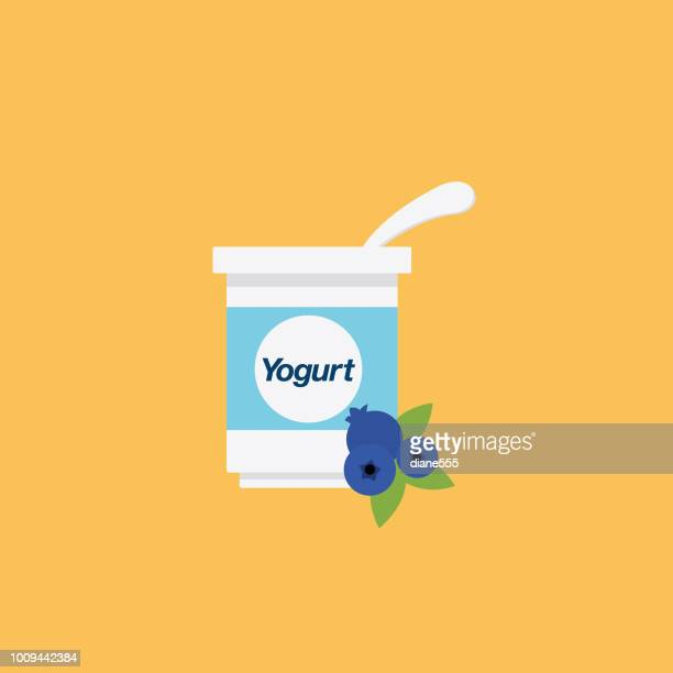 cute breakfast food icon - blueberry yogurt - antioxidant stock illustrations, clip art, cartoons, & icons