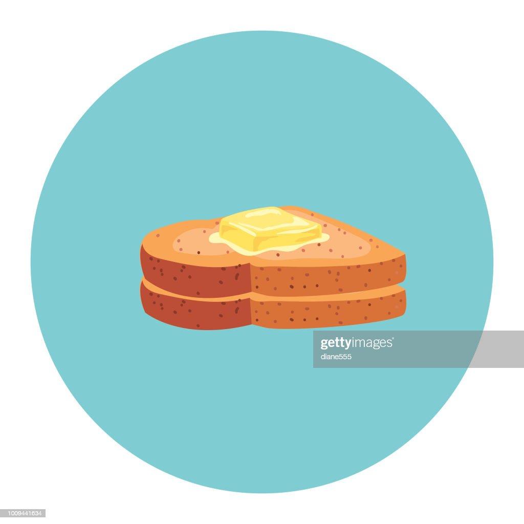 Cute Breakfast Food Icon - Buttered Toast : stock illustration