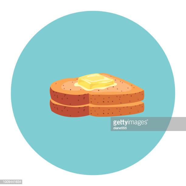 Cute Breakfast Food Icon - Buttered Toast