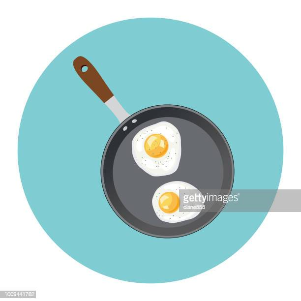 cute breakfast food icon - frying pan with eggs - frying pan stock illustrations
