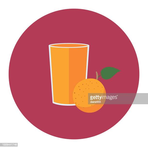 cute breakfast food icon - glas orangensaft - orangensaft stock-grafiken, -clipart, -cartoons und -symbole