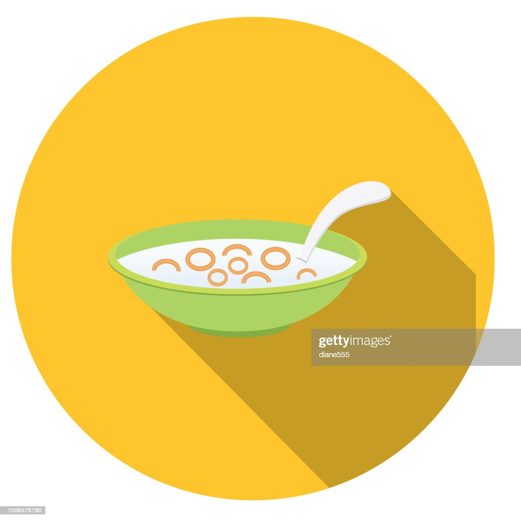 Cute Breakfast Food Icons - Bowl Of Cereal : stock illustration