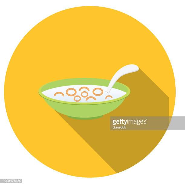 cute breakfast food icons - bowl of cereal - breakfast cereal stock illustrations, clip art, cartoons, & icons