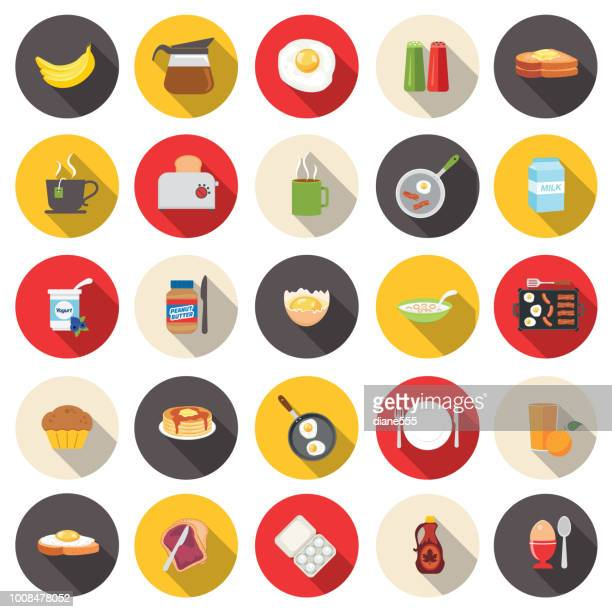cute breakfast food icons set - juice drink stock illustrations, clip art, cartoons, & icons