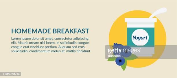 かわいい朝食食品バナー-ヨーグルト - breakfast cartoon点のイラスト素材/クリップアート素材/マンガ素材/アイコン素材