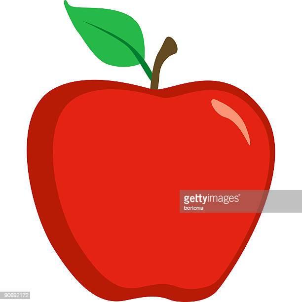 ilustraciones, imágenes clip art, dibujos animados e iconos de stock de linda rojo brillante icono de apple aislada sobre blanco - manzana