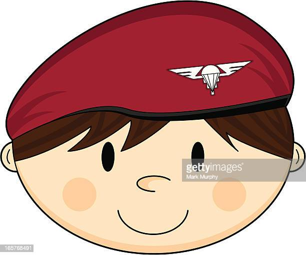 cute british army paratrooper - paratrooper stock illustrations, clip art, cartoons, & icons
