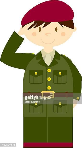 Mignon soldat saluant Britannique