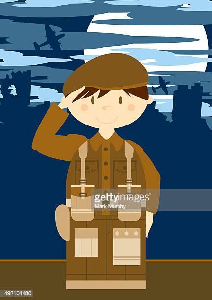 Mignon soldat de l'armée britannique scène