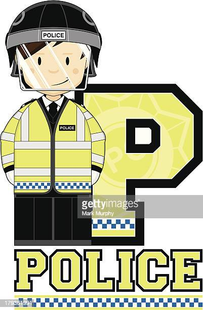 cute british riot policeman letter p - helmet visor stock illustrations, clip art, cartoons, & icons