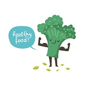 Cute broccoli cartoon character posing and demonstrating its muscles
