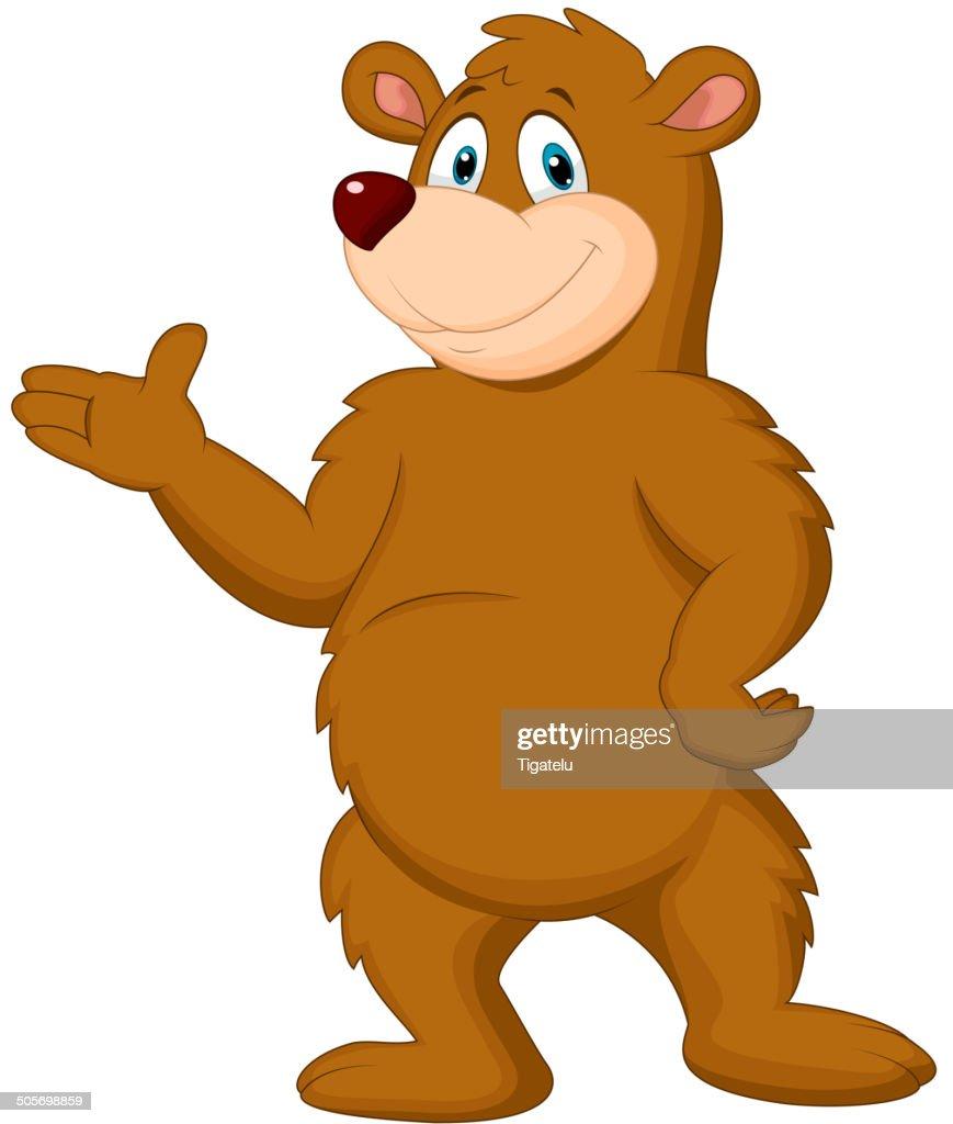 Cute brown bear presenting
