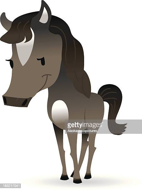 cute brown horse. - mare stock illustrations, clip art, cartoons, & icons