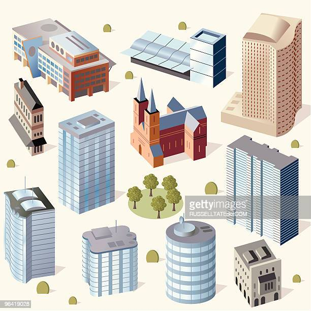 cute buildings #2 - holy city park stock illustrations