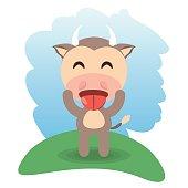 cute bull animal winking