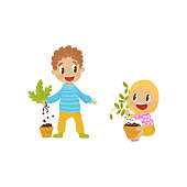 Cute bully boy and girl tearng out house plants from a pot, hoodlum cheerful kids, bad child behavior vector Illustration on a white background
