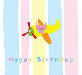 cute bunny happy birthday greeting card vector