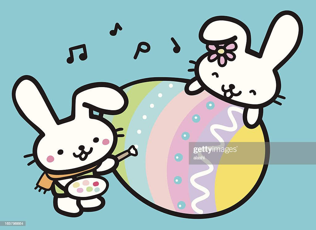 Cute Bunny Painting Easter Egg High Res Vector Graphic Getty Images