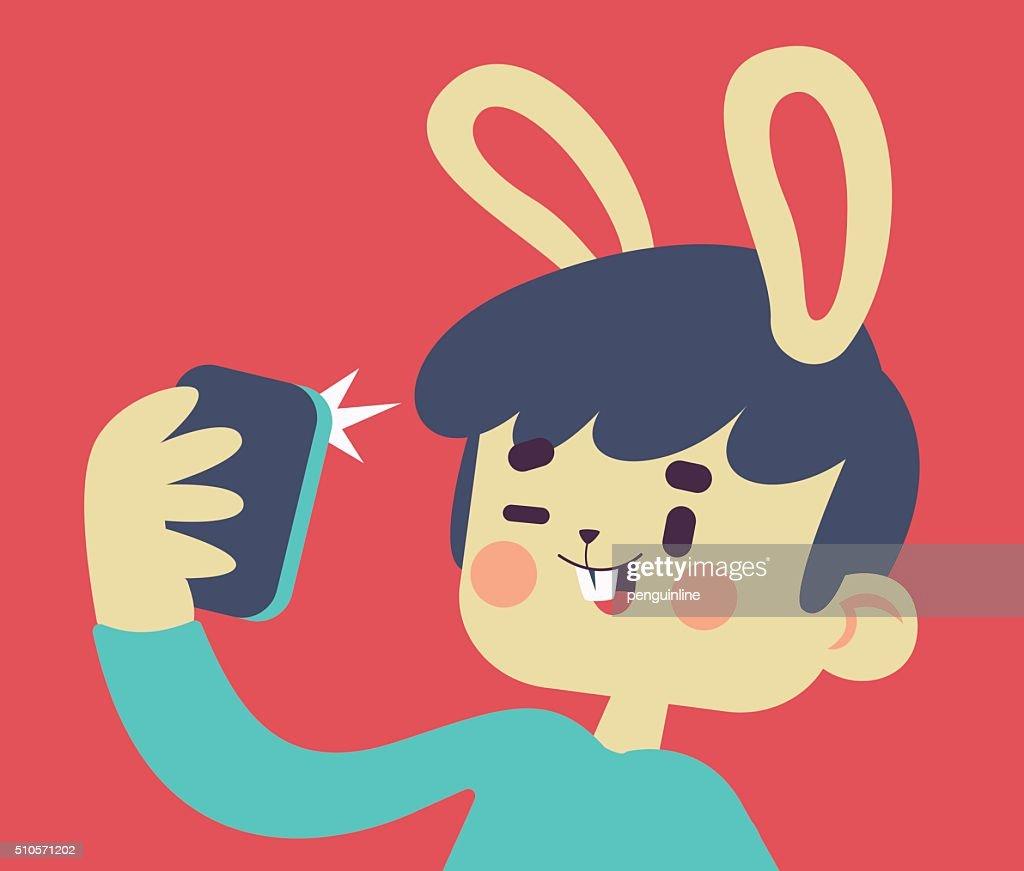 Cute Bunny Taking a Selfie