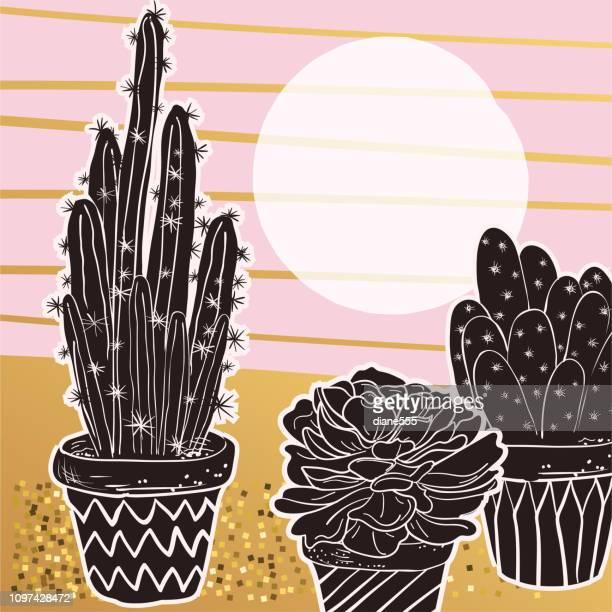 illustrations, cliparts, dessins animés et icônes de carte de cactus mignonne en rose et or - plante verte